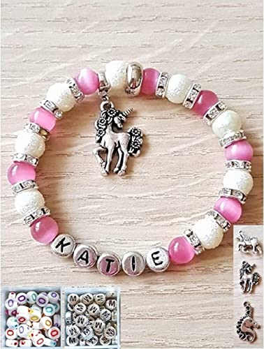 834330058aa1a Handmade Personalised Sparkly Unicorn Charm Bracelet with Pink & White  Glass Pearls, Initial and Custom Unicorn Charms