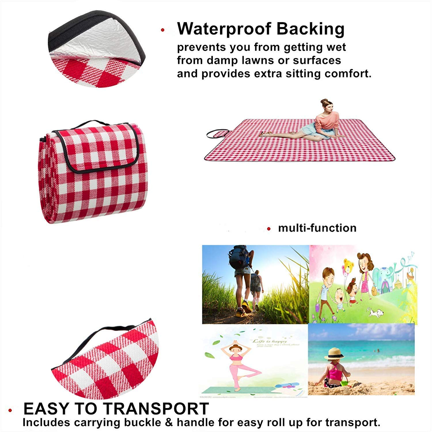 FYL Extra Large Proof Beach Picnic /& Outdoor Blanket with Waterproof Backing-80 90