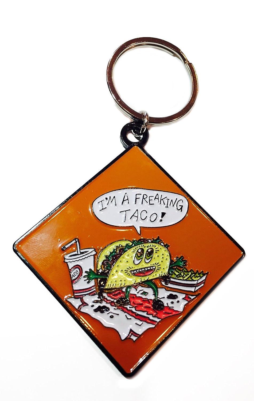 Freakin Taco Funny Food Enamel Metal Ring Key Chain Keychain