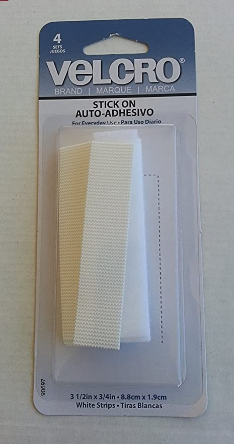 Velcro White Strips Stick On Auto Adhesive(4 Count Package)