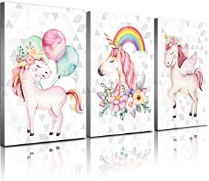 """Wall Art for Kids Room Unicorns Canvas Bedroom Wall Decor Pink Rainbow Balloon Pictures Bathroom Living Room Poster Funny Cute Nursery Girls Children's Home Decoration Frame 3 Pcs 12x16"""""""