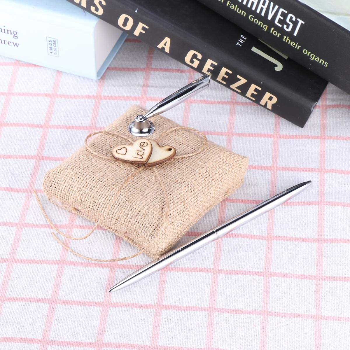 EBTOYS Vintage Burlap Wedding Reception Guest Pen with Stand Wooden Hearts Embellished Wedding Reception Party Table Decor