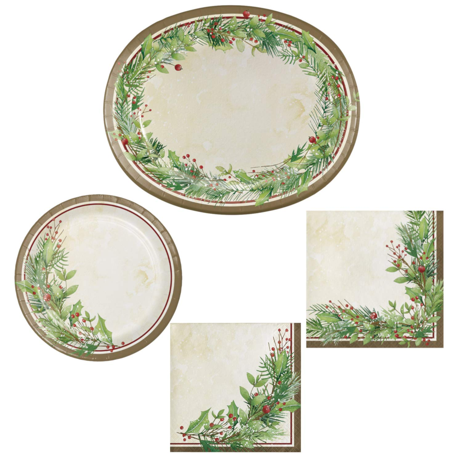 Christmas Bowls And Platters.Winter Wreath Christmas Dinnerware Set Paper Platters Plates And Napkins Complete Bundle
