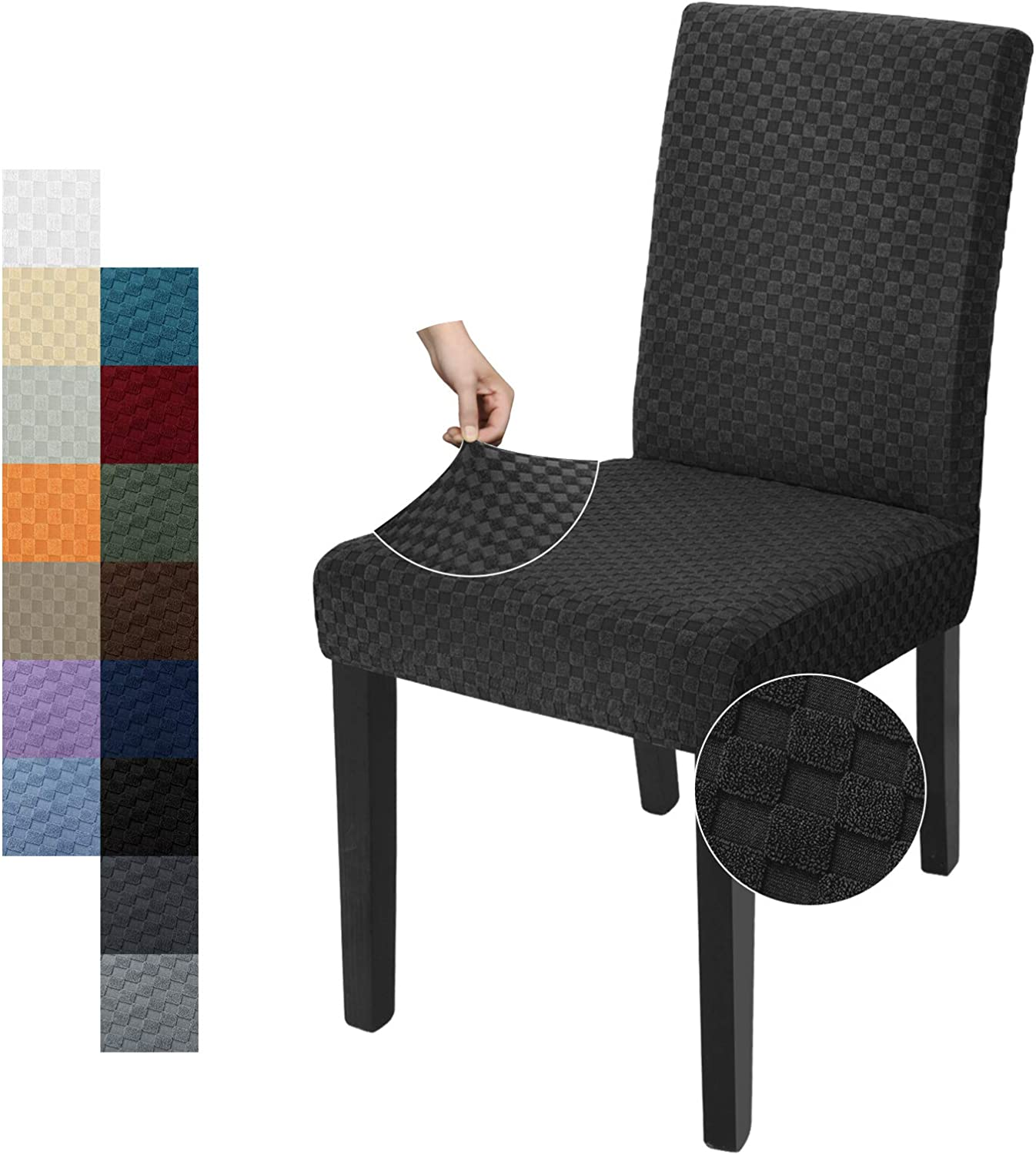 YEMYHOM 4 Packs Latest Checkered Dining Chair Slipcover Parsons Chair Furniture Protector Stretch Chair Covers for Dining Room, Restaurant, Kitchen, Party (Black)
