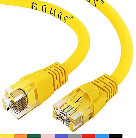 10-Pack - 7 Feet GOWOS Cat5e Ethernet Cable Gray 1Gigabit//Sec High Speed LAN Internet//Patch Cable 24AWG Network Cable with Gold Plated RJ45 Snagless//Molded//Booted Connector 350MHz