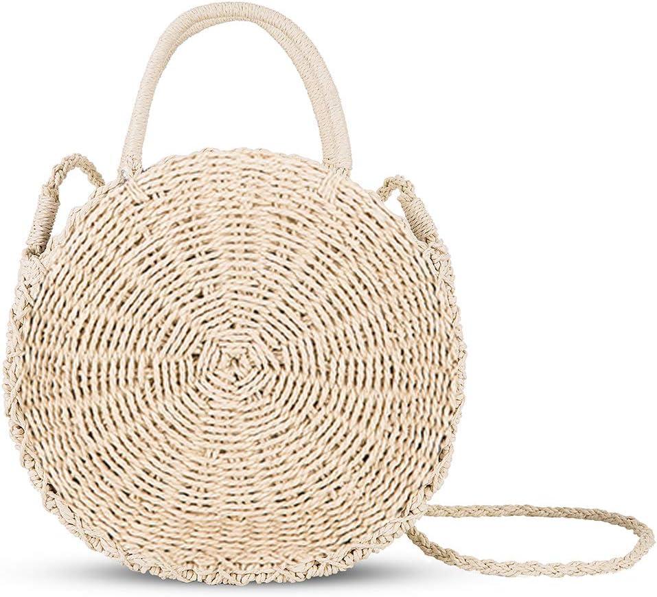 SHUIBIAN Stroh Crossbody Tasche Frauen Weben Umh/ängetasche Runde Sommer Strand Geldb/örse und Handtaschen Beige 3