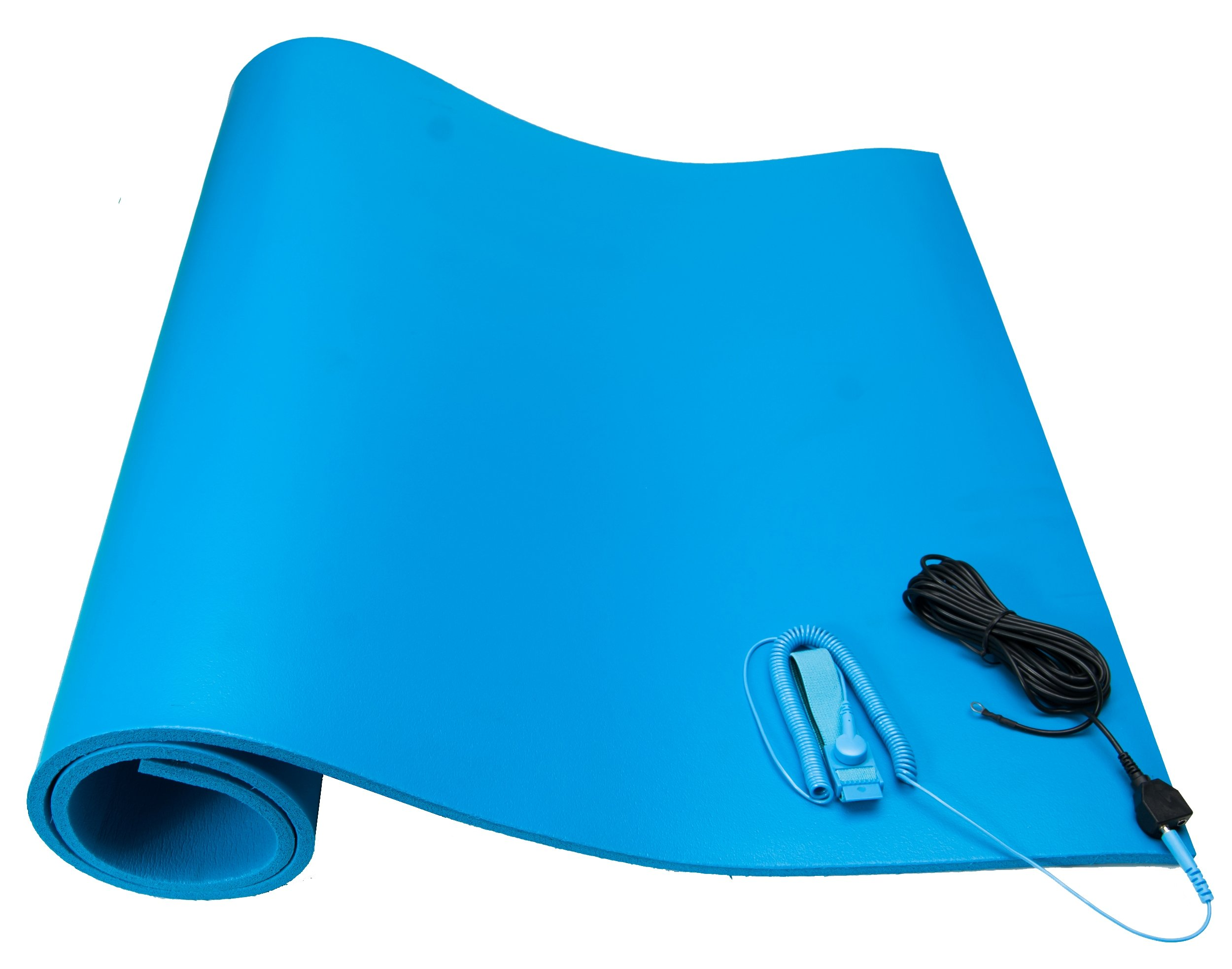 Bertech ESD Foam Mat Kit with a Wrist Strap and Grounding Cord, 2.5' Wide x 6' Long x 0.375'' Thick, Blue, Made in USA