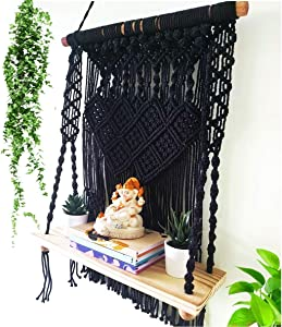 Induslyfe Black Macrame Wall Hanging Shelves for Home Wall Decor Boho Wall Decor Plant Shelf Indoor, Bohemian Decor Floating Shelf Woven Rope for Bedroom Stand, Bathroom, Kitchen, Bookshelf