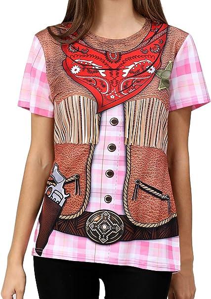 COSAVOROCK Disfraz de Vaquero para Mujer Camiseta Estampada ...