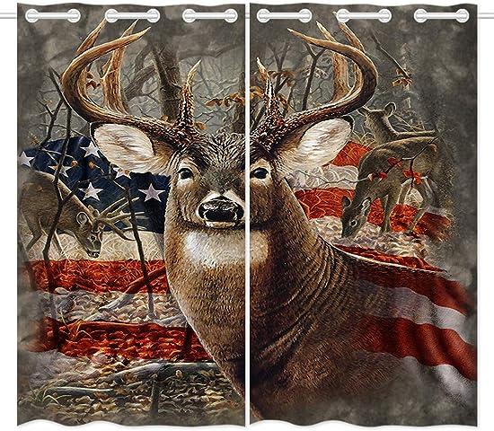 HommomH 42 x 84 inch Curtains 2 Panel Grommet Top Darkening Blackout Room Americana Flag Deer