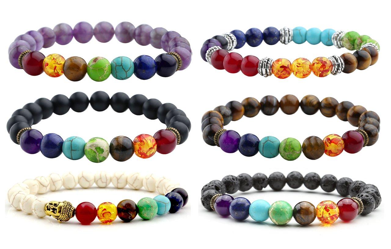 Top Plaza 7 Chakra Healing Energy Crystal Gemstone Beads Bracelet, 8MM - Pack of 6 (Pack of 6#1)