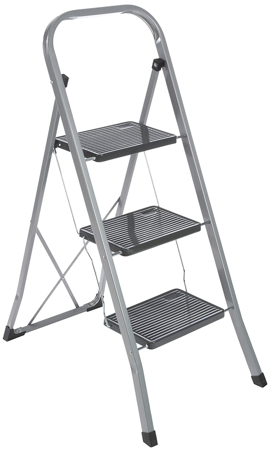 axentia 3 Step Ladder, Heavy Duty, Portable, Folding Ladder, Steel Step Ladder Stool, Non-Slip Steps, 150kg Capacity, Stepladder Handrail, approx. 46 x 71 x 104 cm, Silver-black 251202