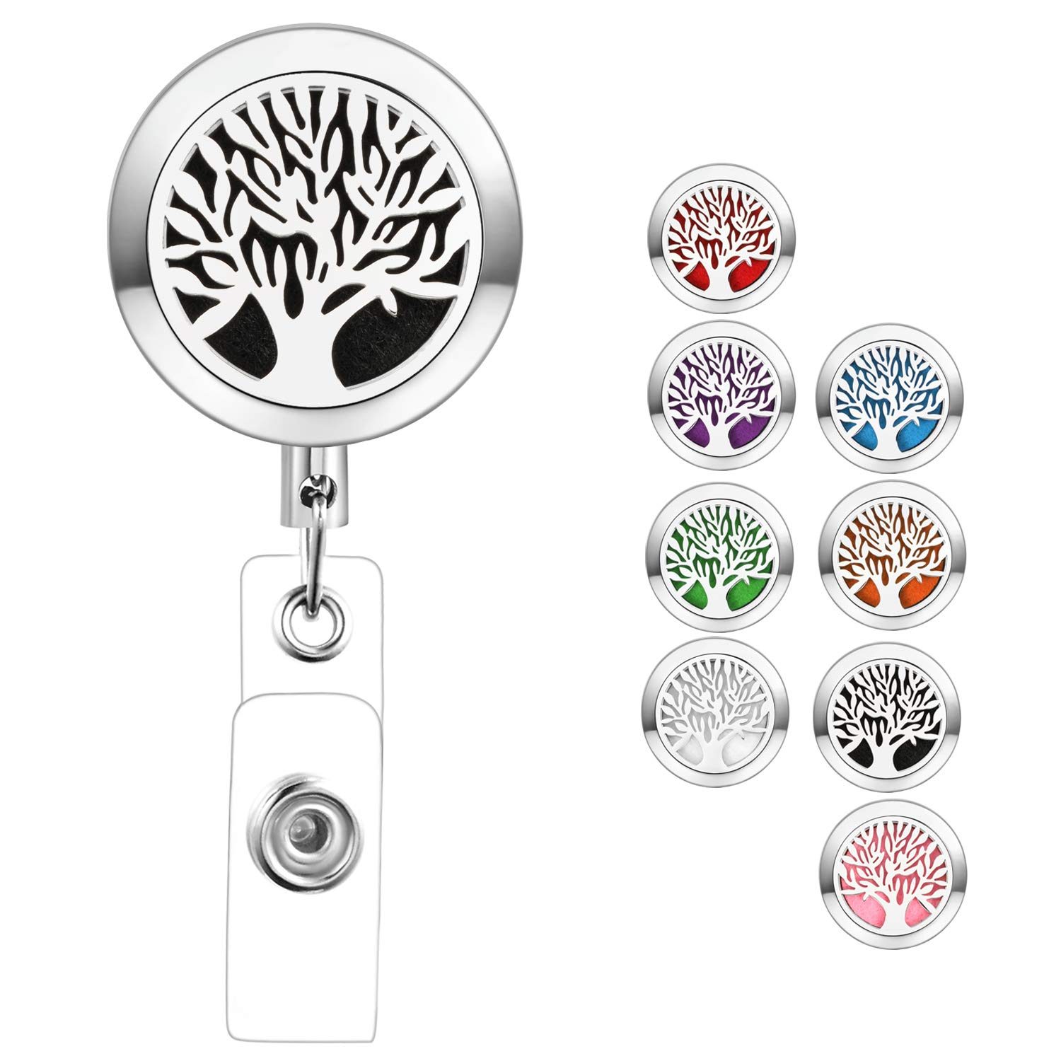Retractable Badge Holder with Essential Oil Diffuser Aromatherapy Heavy Duty Badge Reels Cute ID Card Holder Clip for Nurse Teacher Tree of Life by SAM & LORI