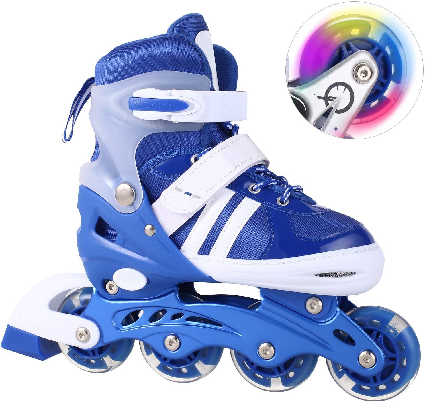 WeSkate Inline Skates for Kids Teen Women with Light Up Wheels, Illuminating Roller Skates for Beginner Outdoor Fitness