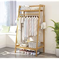 House of Quirk Bamboo Garment Coat Clothes Hanging Duty Rack with Top Shelf and Shoe Clothing Storage Organizer Shelves - DIY Rack