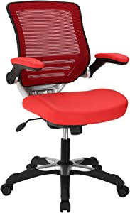 Modway Edge Mesh Back and White Vinyl Seat Office Chair With Flip-Up Arms - Computer Desks in Red