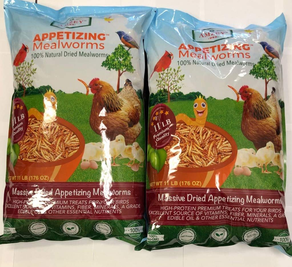 Appetizing Mealworms 22lbs-100% Non-GMO Dried Mealworms - High-Protein Meal Worm Treats -Perfect for Your Chickens,Ducks,Wild Birds,Turtles,Hamsters,Fish