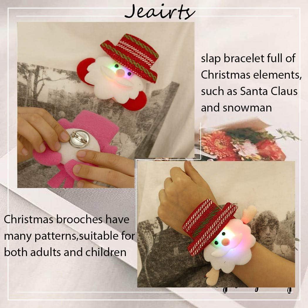 Jeairts Light Christmas Slap Bracelets Snowman Snap Bracelet Bulk with Free Brooch Sequin Santa Claus Slap Bands Party Slap Wristband Strap for Kids and Adults 4 Pack