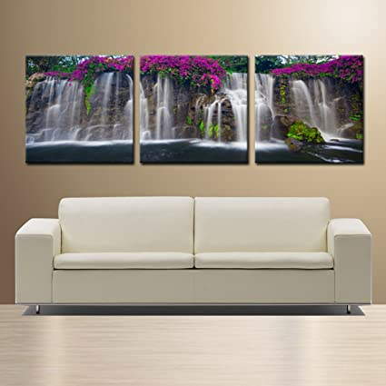 Waterfallsready To Hang 3 Panel Set Wall Art Print Mounted On Fiberboardbetter Than Stretched Canvas Printssize20x20x1 Inch X3panels