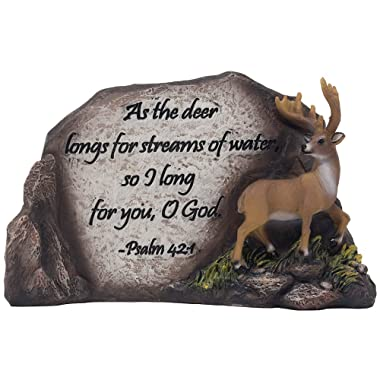 Inspirational Deer in Nature Desktop Plaque Figurine for Religious and Spiritual Lodge and Cabin Decor As Decorative Buck Statues with Bible Verse or Christian Decorations As Gifts for Hunters