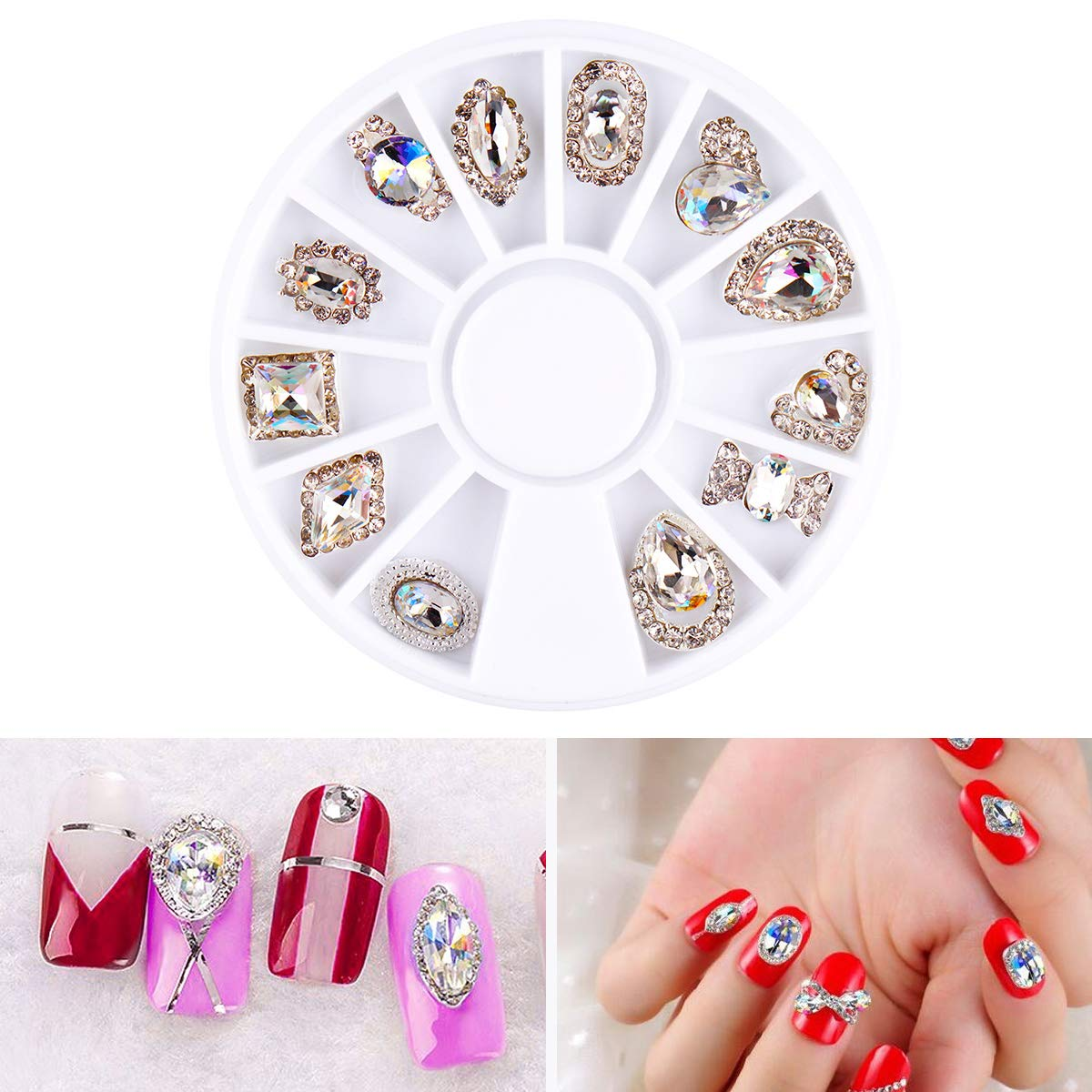 12 Styles Nail Art Rhinestone Gems Decoration Accessories Wheel AB Colorful Crystal Diamond Jewelry Designs Manicure Tools by DKjiaoso