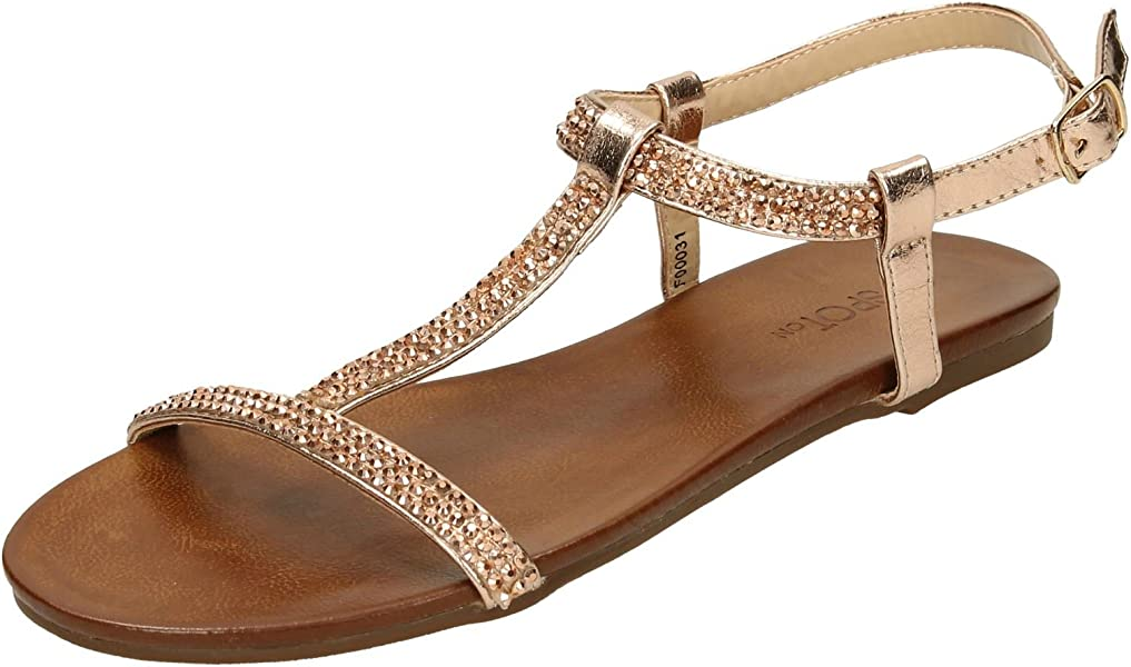 Ladies Spot On Diamante Flat /'Sandals/'