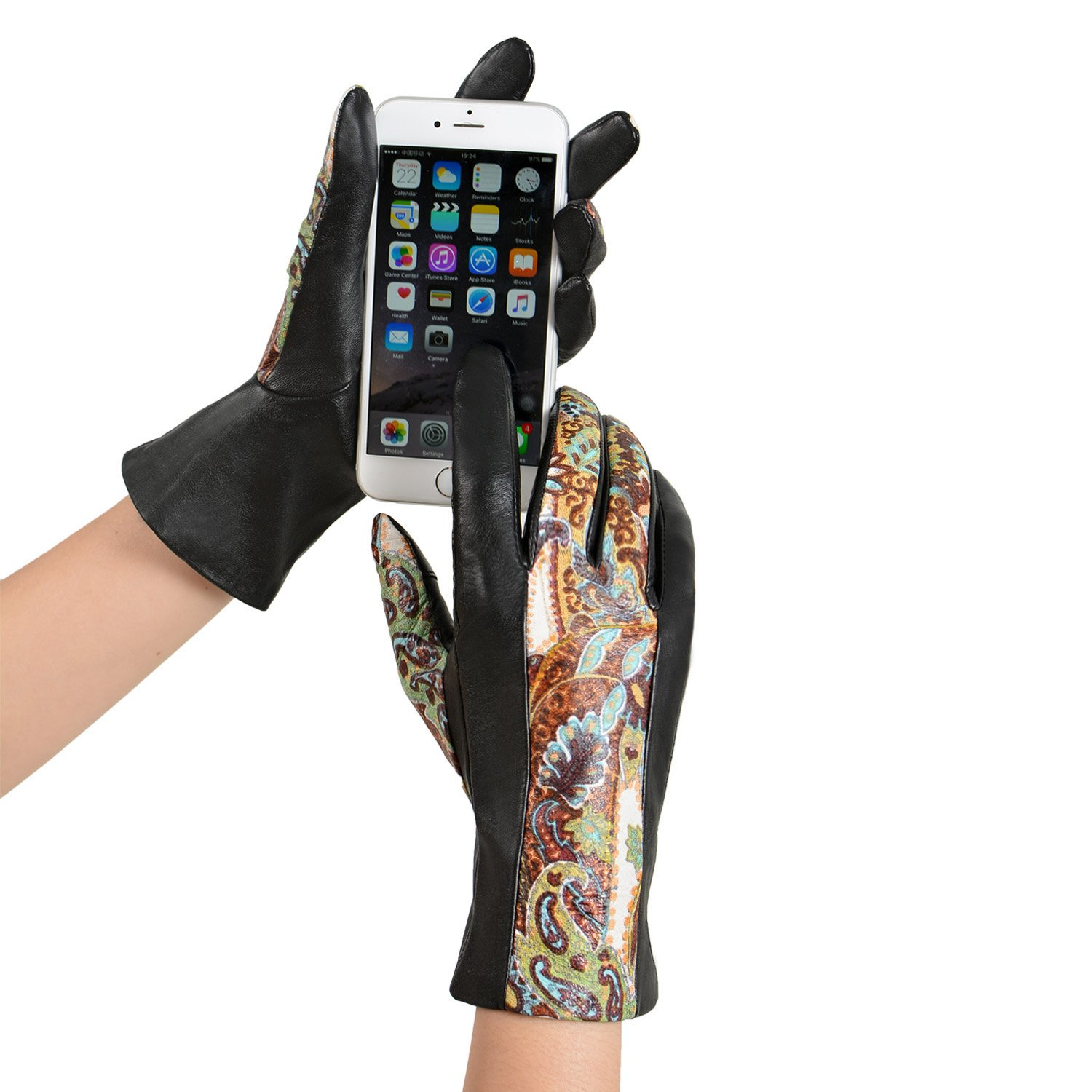 GSG Womens Novelty Paisley Italian Genuine Nappa Leather Gloves Lady Winter Gloves Full Palm Touchscreen 7 Black-Z by GSG (Image #2)