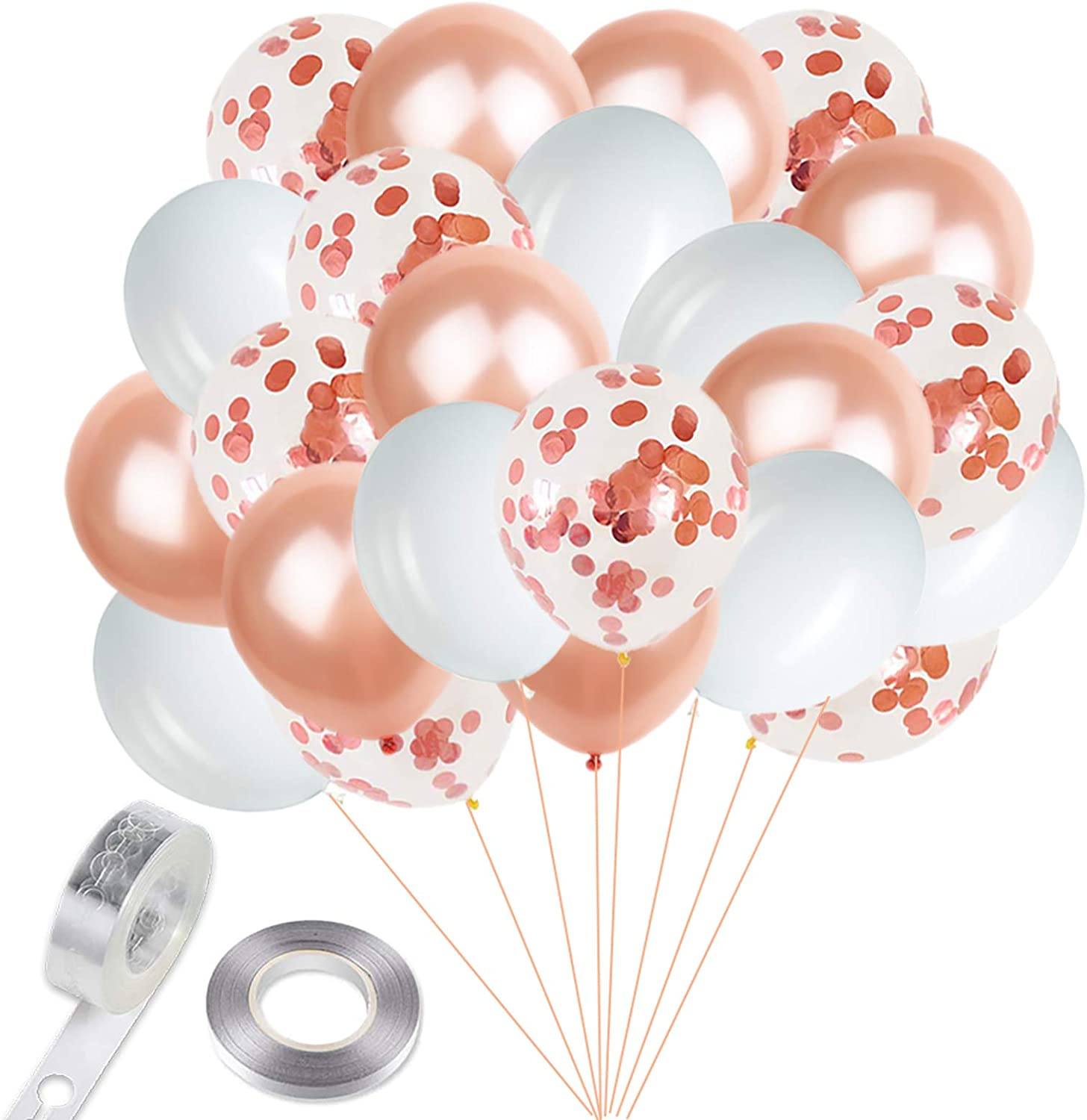 Bridal Shower Decor Baby Shower Balloons Shabby Chic 6 Pack Wedding Balloons Rose Gold and Blush Balloons