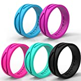 RINFIT Women's Silicone Ring | Wedding Band – 5 Rings Pack - Designed Silicone Rings - Black, Turquoise, Blue, Pink, Purple - Comes with a Gift Box!