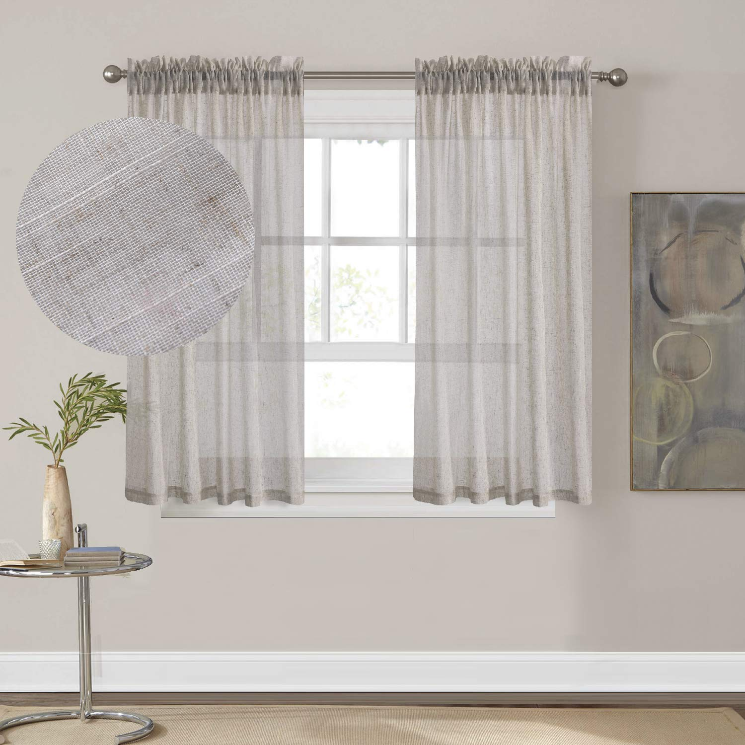 HOME BRILLIANT Premium Soft Linen Blend Semi Sheer Curtains for Kitchen, Rod Pocket, 54 x 45 inch Long, Set of 2