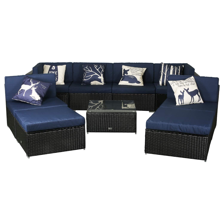 eclife Outdoor Rattan Sofa 9 PCS Set Patio PE Wicker Black Sofa Couch Furniture Set Removable Cushions W/ 6 Pillows, Tea Table and Ottoman (9PCS Dark Blue)
