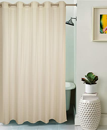 Lushomes Water Proof Polyester Shower Curtain with 10 Eyelets (Off-White, 6.8ft)