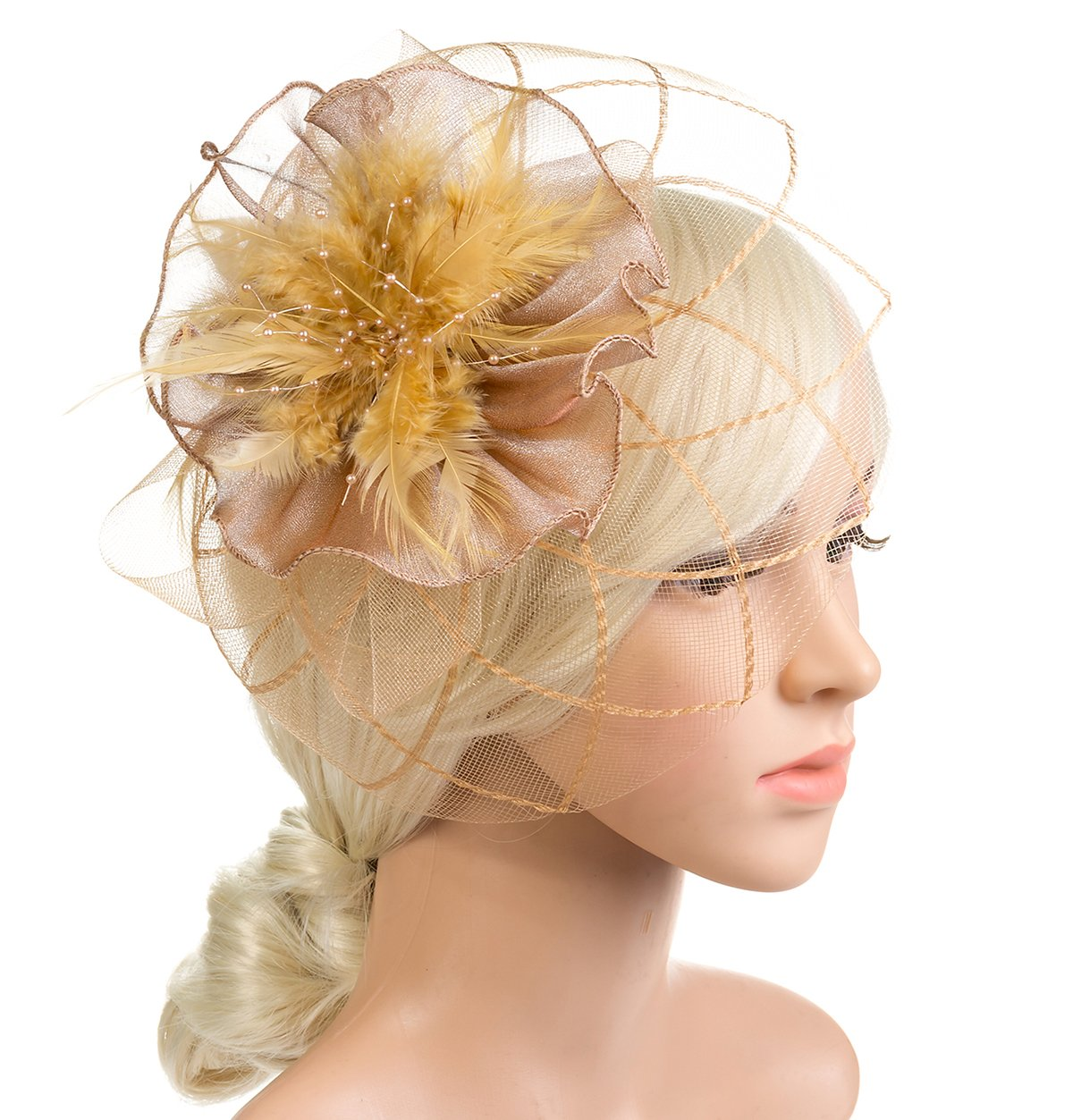 DancMolly 1920s Fascinator Derby Hats Feather Cocktail Tea Net Hair Headband Mesh Party Clip for Ladies Womens (Style 1-Beige)
