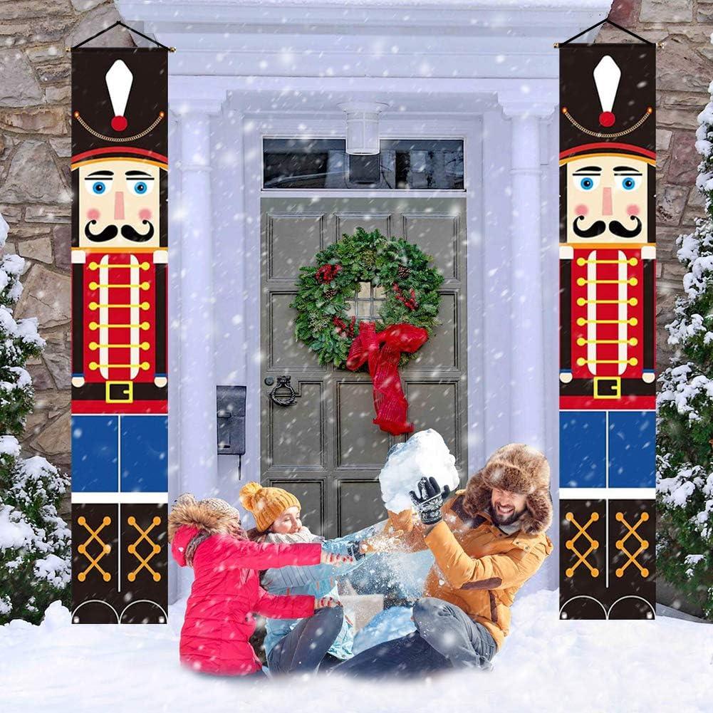 WOJOY Nutcracker Christmas Decorations - Outdoor Xmas Decor - Life Size Soldier Model Nutcracker Banners for Front Door Porch Garden Indoor Exterior Kids Party Yard Gate 1 Pair 32x180cm
