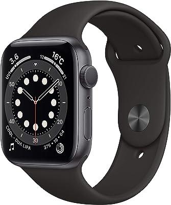 Apple Watch Series 6(GPSモデル)- 44mmスペースグレイアルミニウムケースとブラックスポーツバンド