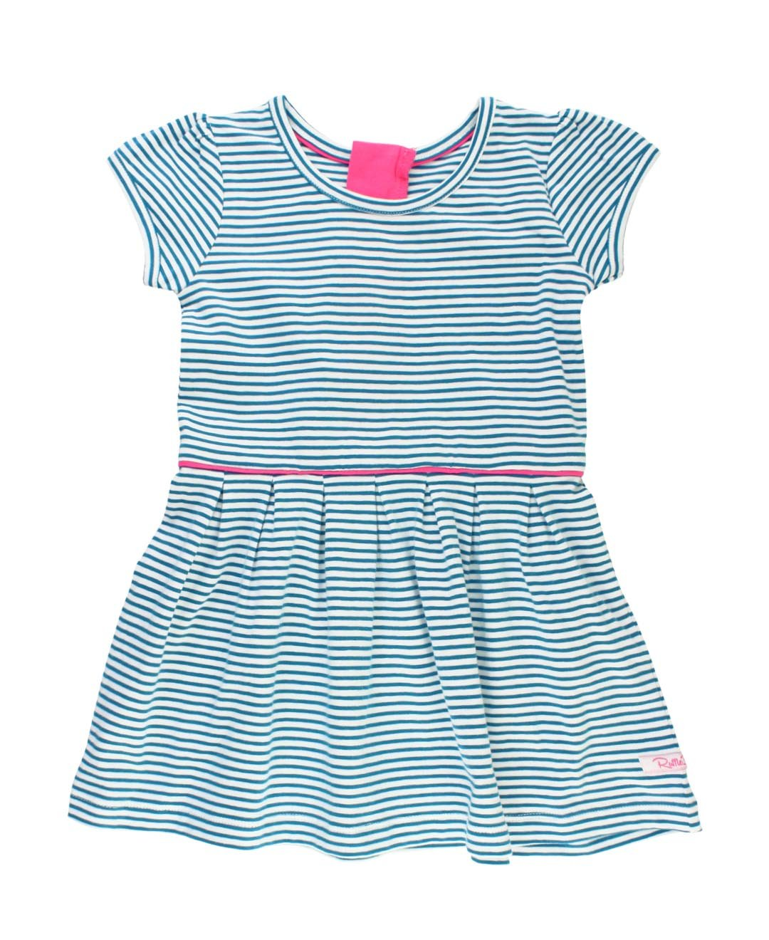 64b43e2f932f Amazon.com  RuffleButts Little Girls Bright Blue Stripe Short Sleeve Knit  A-Line Dress  Clothing