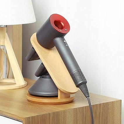 BUBM Soportes para secadores de pelo, Soporte de madera de haya para el secador de