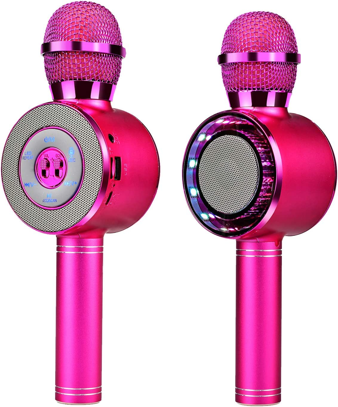 Micrófono inalámbrico de karaoke, micrófono Bluetooth portátil para niños con altavoz y luces LED, altavoz portátil con reproductor de micrófono para fiesta de cumpleaños de Navidad (ROSA)