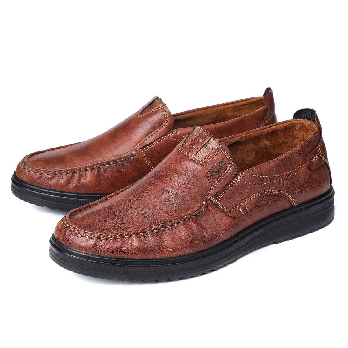 Mens Nonslip Leather Business Casual Boat Shoes Driving Moccasin Lace Up Loafers