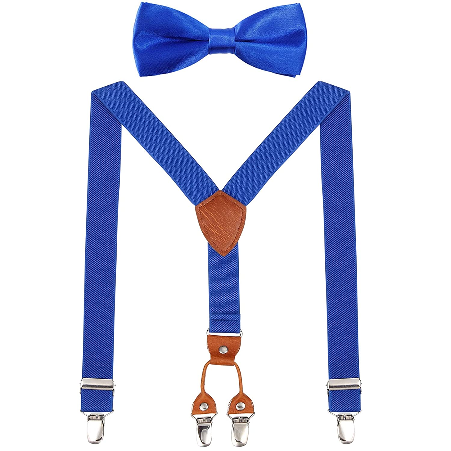 Children Braces Suspenders Bow Tie Y-Shaped Braces and Bowtie Set for Kid Boys Girls Leather Adjustable Elastic Suspenders with 4 Clips