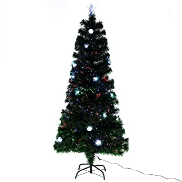 Amazon.com: Goplus 6 Ft Pre-Lit Fiber Optic Artificial Christmas ...