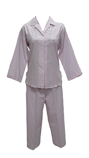 408603 New Miss Elaine Pink White Stripe Two Piece Pajamas Set - S ... aaa038805