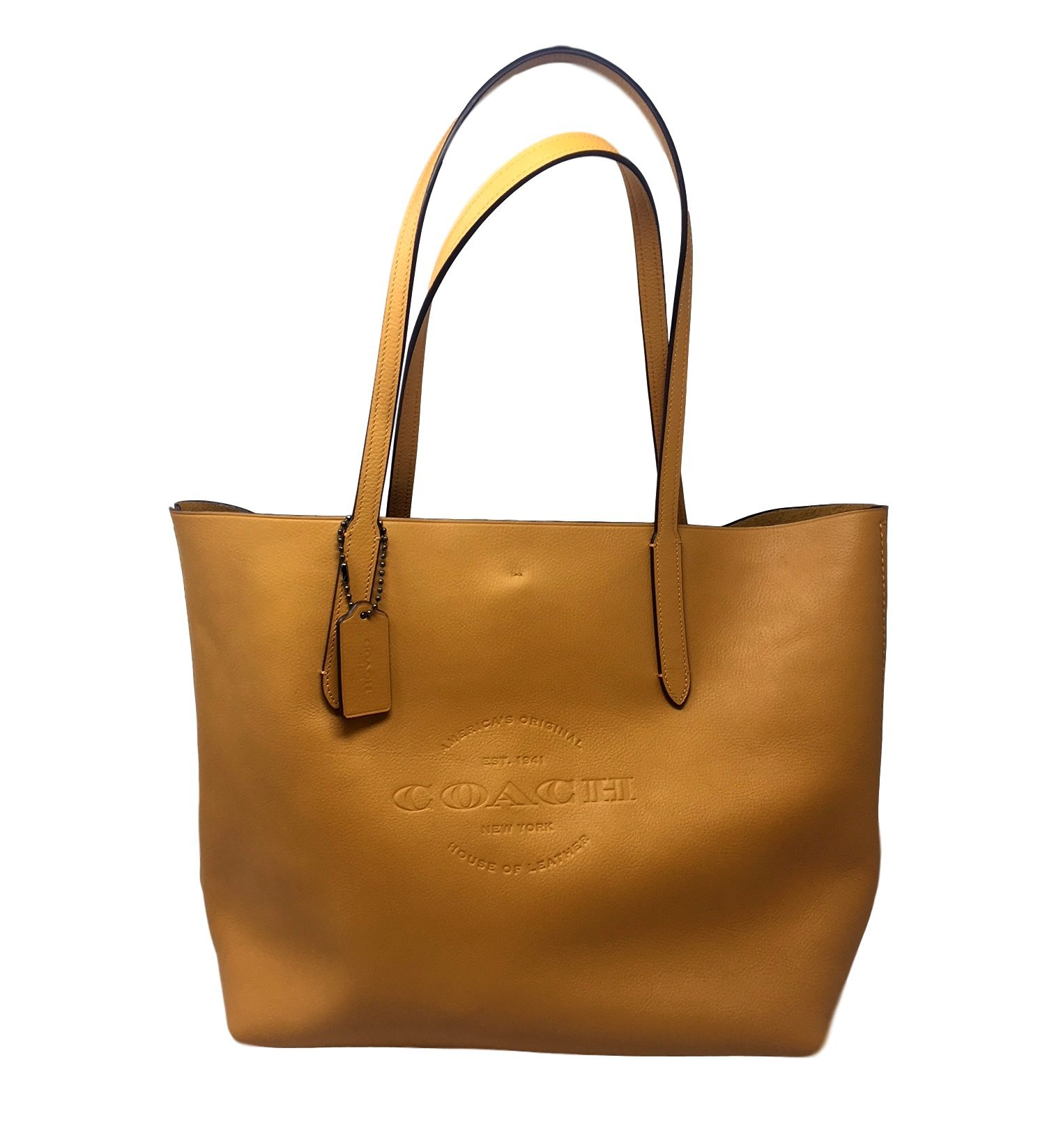 COACH Hudson Tote in Natural Smooth Leather in Mustard / Black Antique Nickel 59403