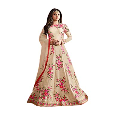 28d9d1adaf JINIMART Off White Silk Anarkali Gown Semi-Stitched Suit: Amazon.in:  Clothing & Accessories