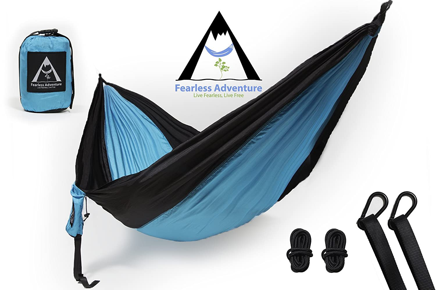 The Fearless Adventure Single and Double Camping Hammocks, Portable Hammock, Outdoor Hammock Triple Stitched, 100 Parachute Nylon, End Straps, Carabiners, Rope, Lightweight