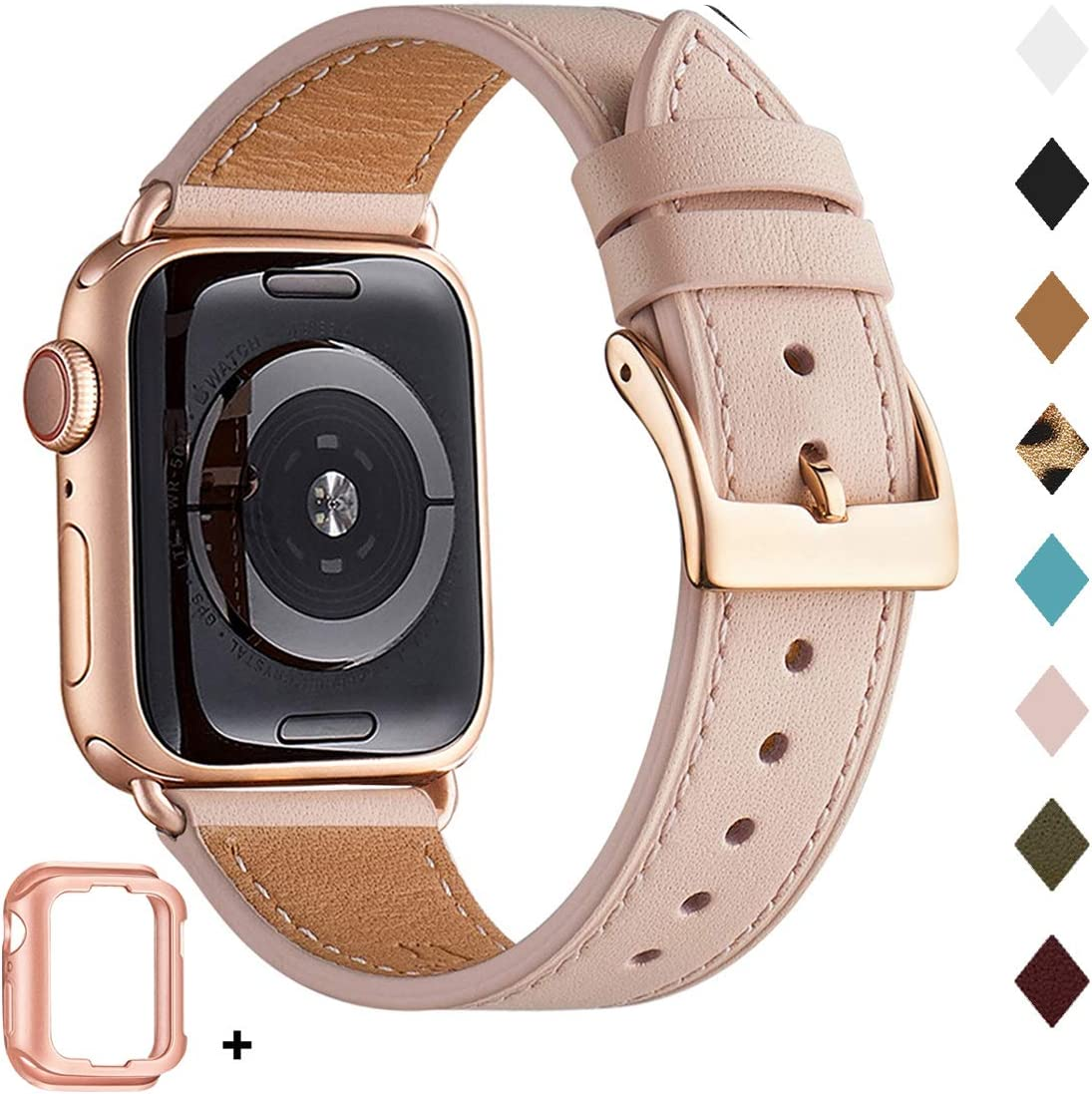 Bestig Band Compatible for Apple Watch 38mm 40mm 42mm 44mm, Genuine Leather Replacement Strap for iWatch Series 6 SE 5 4 3 2 1, Sports & Edition (Pink Sand Band+Rose Gold Adapter, 42mm 44mm)