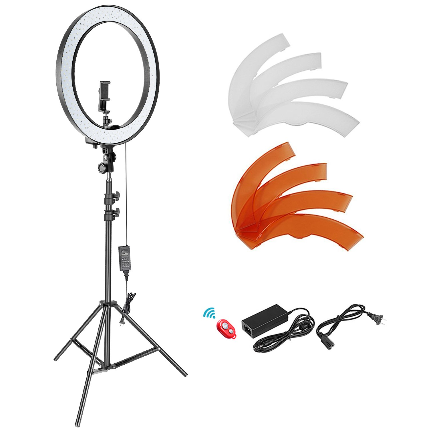 Neewer 18-inch Outer Dimmable SMD LED Ring Light Lighting Kit with 78.7 inches Light Stand, Phone Holder, Hot Shoe Adapter for Portrait YouTube Video Shooting (No Carrying Bag) by Neewer