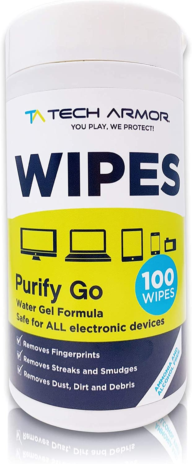 Tech Armor Purify Go Cleaning Wipes[100 Wipes] Electronics Screen Cleaner for TV Screen, Computer Screen, Laptop, Phone, Tablet, Smart Watch, and Electronics Devices [100 Wipes]