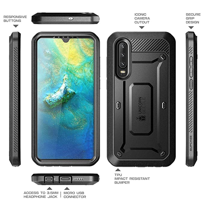 SUPCASE Unicorn Beetle Pro Series Designed for Huawei P30 Case (2019 Release) Full-Body Dual Layer Rugged with Holster & Kickstand (Black)