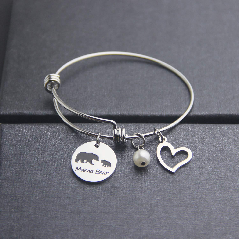 EIGSO Mama Bear Cuff Bracelet Mom Bracelet Mother Gift Sweet Family Bracelet New Mother Gift Mama Bear Jewelry for Mom Wife Grandma